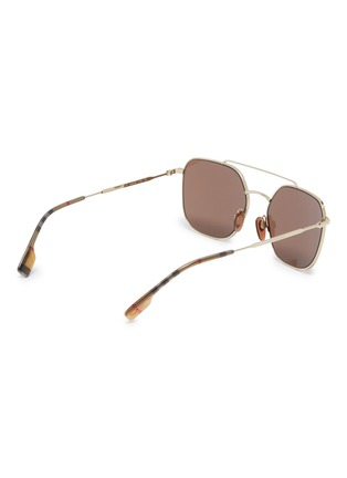 Figure View - Click To Enlarge - BURBERRY - Tartan plaid tip metal square sunglasses