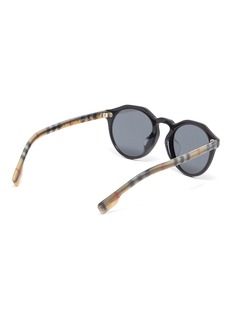 Burberry Check temple acetate round sunglasses