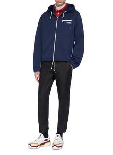 Prada Logo patch stripe outseam neoprene zip hoodie