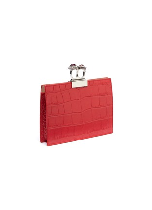 Detail View - Click To Enlarge - ALEXANDER MCQUEEN - Swarovski crystal croc embossed leather knuckle clutch
