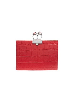 Main View - Click To Enlarge - ALEXANDER MCQUEEN - Swarovski crystal croc embossed leather knuckle clutch