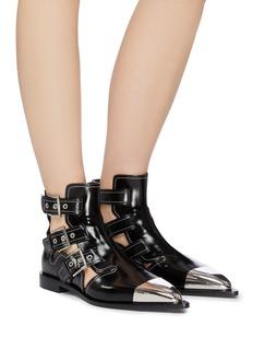 Alexander McQueen Metallic toecap buckle cutout leather ankle boots