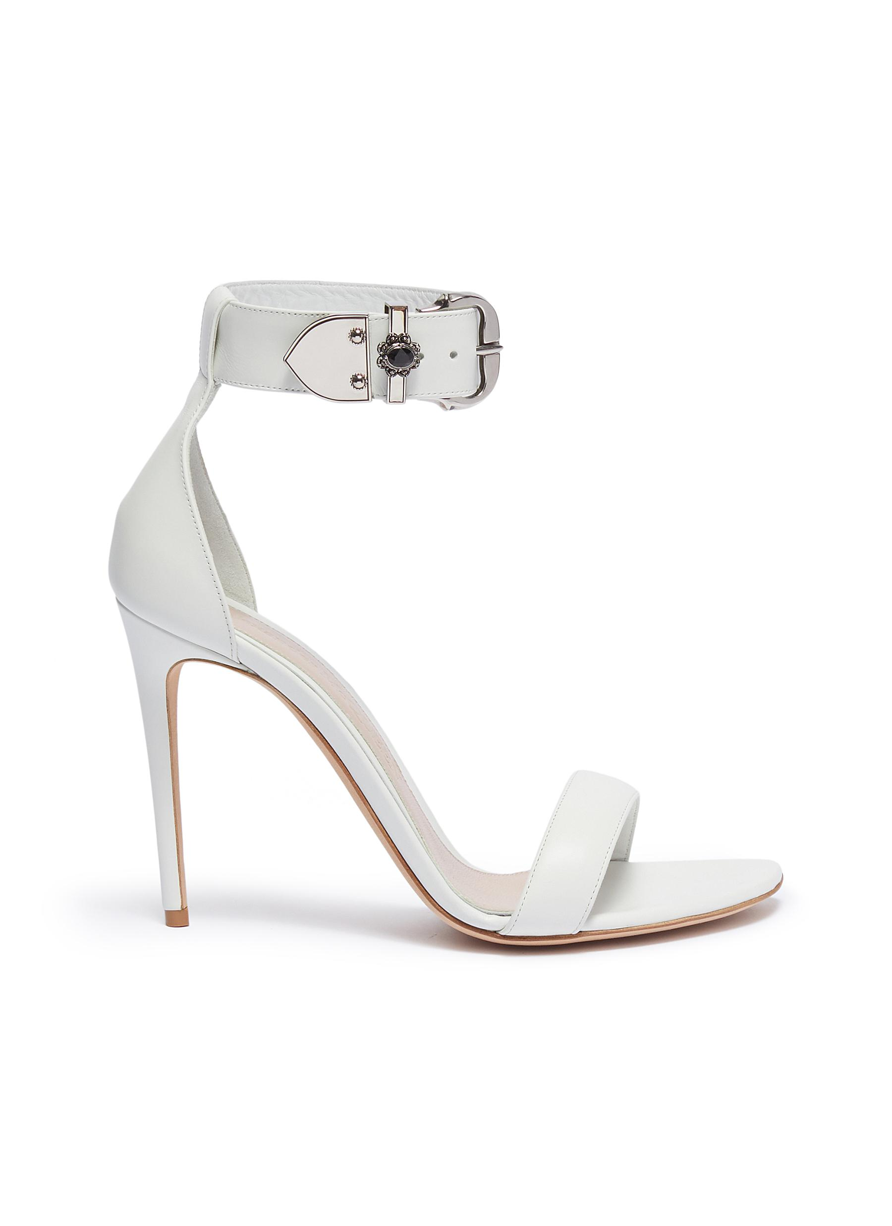 Jewelled buckle ankle strap leather sandals by Alexander Mcqueen