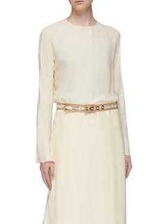 Maison Boinet Leather trim PVC skinny corset belt