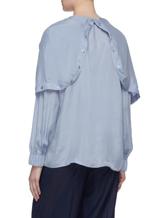 Detail View - Click To Enlarge - TIBI - Half snap button placket hooded top