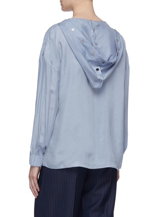Back View - Click To Enlarge - TIBI - Half snap button placket hooded top