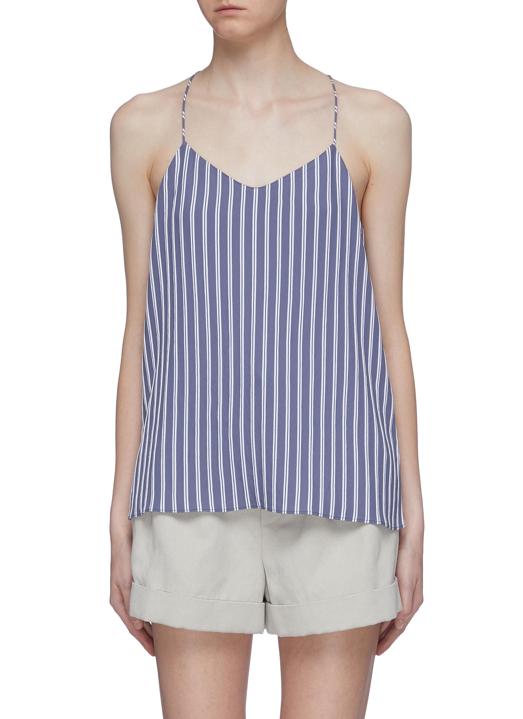Stripe twill racerback camisole top by Tibi