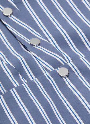 - TIBI - Cutout back button strap stripe twill dress