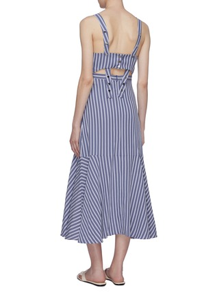 Back View - Click To Enlarge - TIBI - Cutout back button strap stripe twill dress