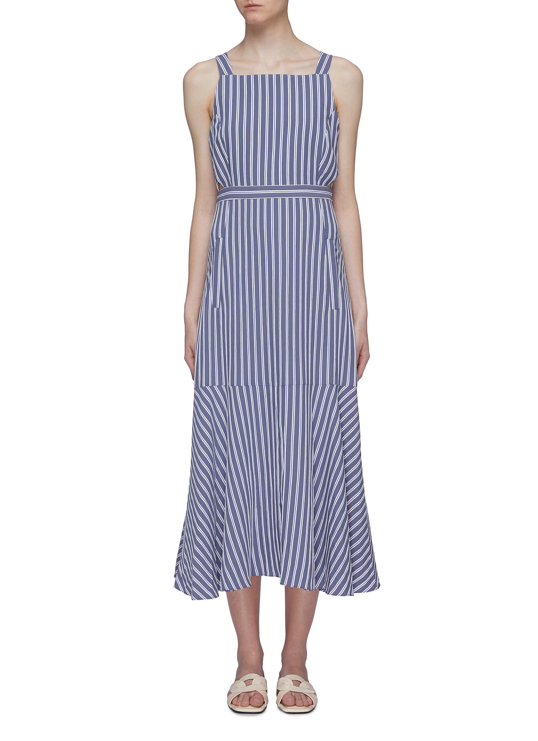 Cutout back button strap stripe twill dress by Tibi