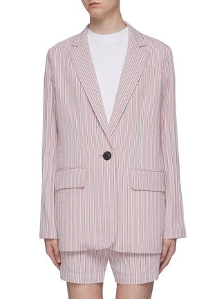 Main View - Click To Enlarge - TIBI - Curve hem stripe twill oversized blazer