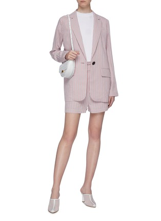Figure View - Click To Enlarge - TIBI - Curve hem stripe twill oversized blazer
