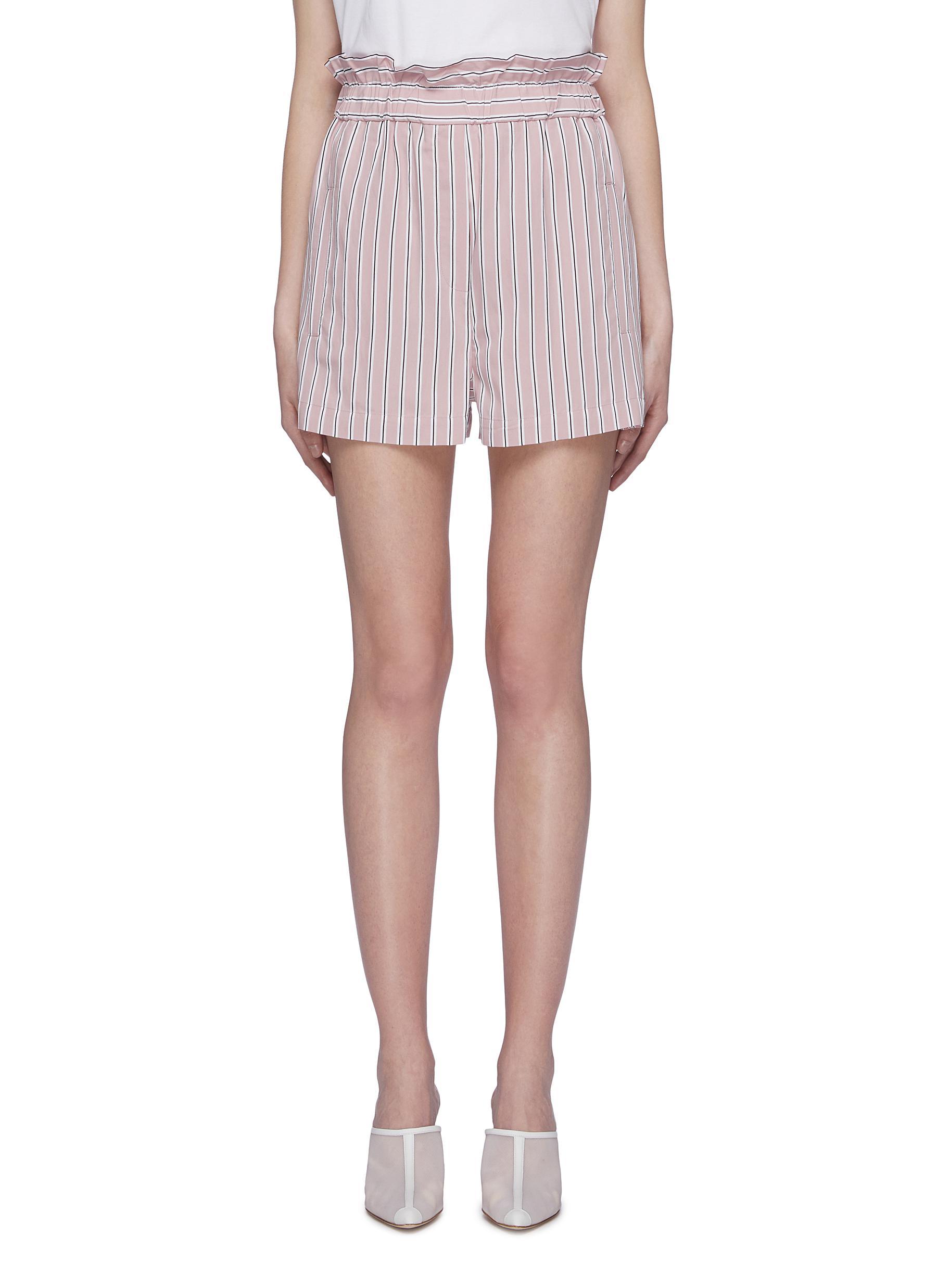 Stripe twill paperbag shorts by Tibi