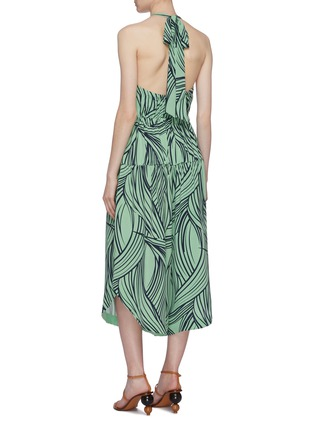 Back View - Click To Enlarge - TIBI - Abstract print silk halterneck jumpsuit