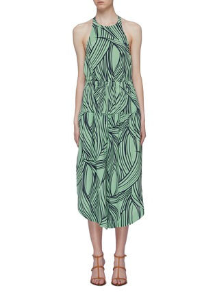 Main View - Click To Enlarge - TIBI - Abstract print silk halterneck jumpsuit