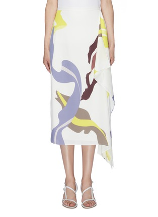Main View - Click To Enlarge - TIBI - 'Ant Farm' graphic print asymmetric drape skirt