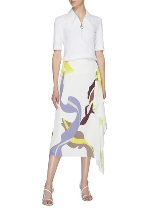 Figure View - Click To Enlarge - TIBI - 'Ant Farm' graphic print asymmetric drape skirt