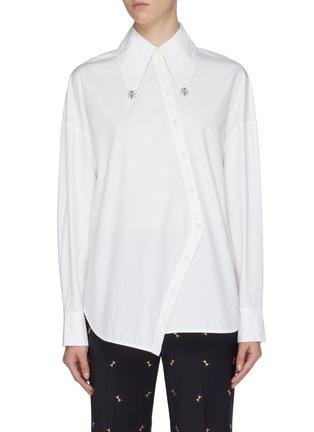 Main View - Click To Enlarge - TIBI - 'Tech' ant bead asymmetric button poplin shirt