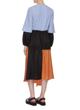 Back View - Click To Enlarge - TIBI - 'Camille' lace trim colourblock patchwork asymmetric dress