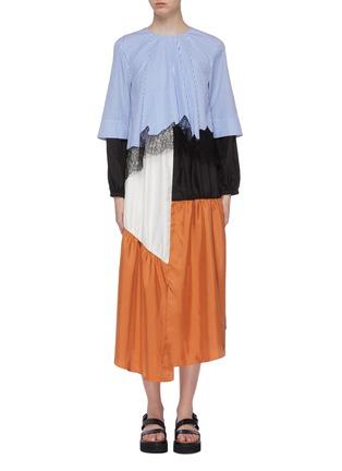 Main View - Click To Enlarge - TIBI - 'Camille' lace trim colourblock patchwork asymmetric dress