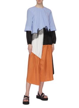 Figure View - Click To Enlarge - TIBI - 'Camille' lace trim colourblock patchwork asymmetric dress