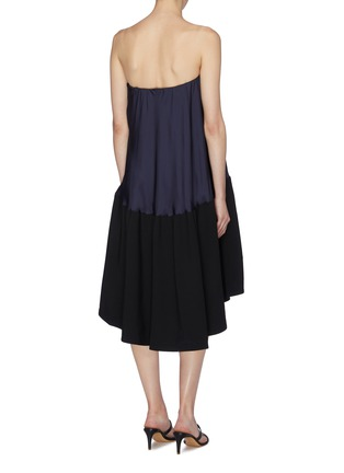 Back View - Click To Enlarge - TIBI - Colourblock strapless bias dress