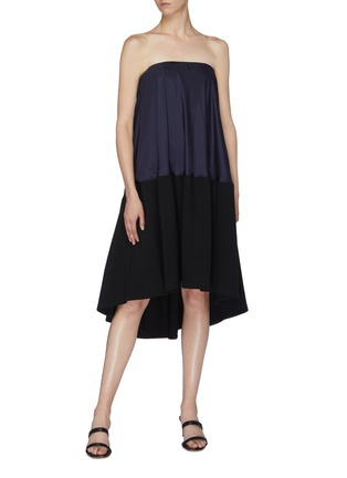 Figure View - Click To Enlarge - TIBI - Colourblock strapless bias dress
