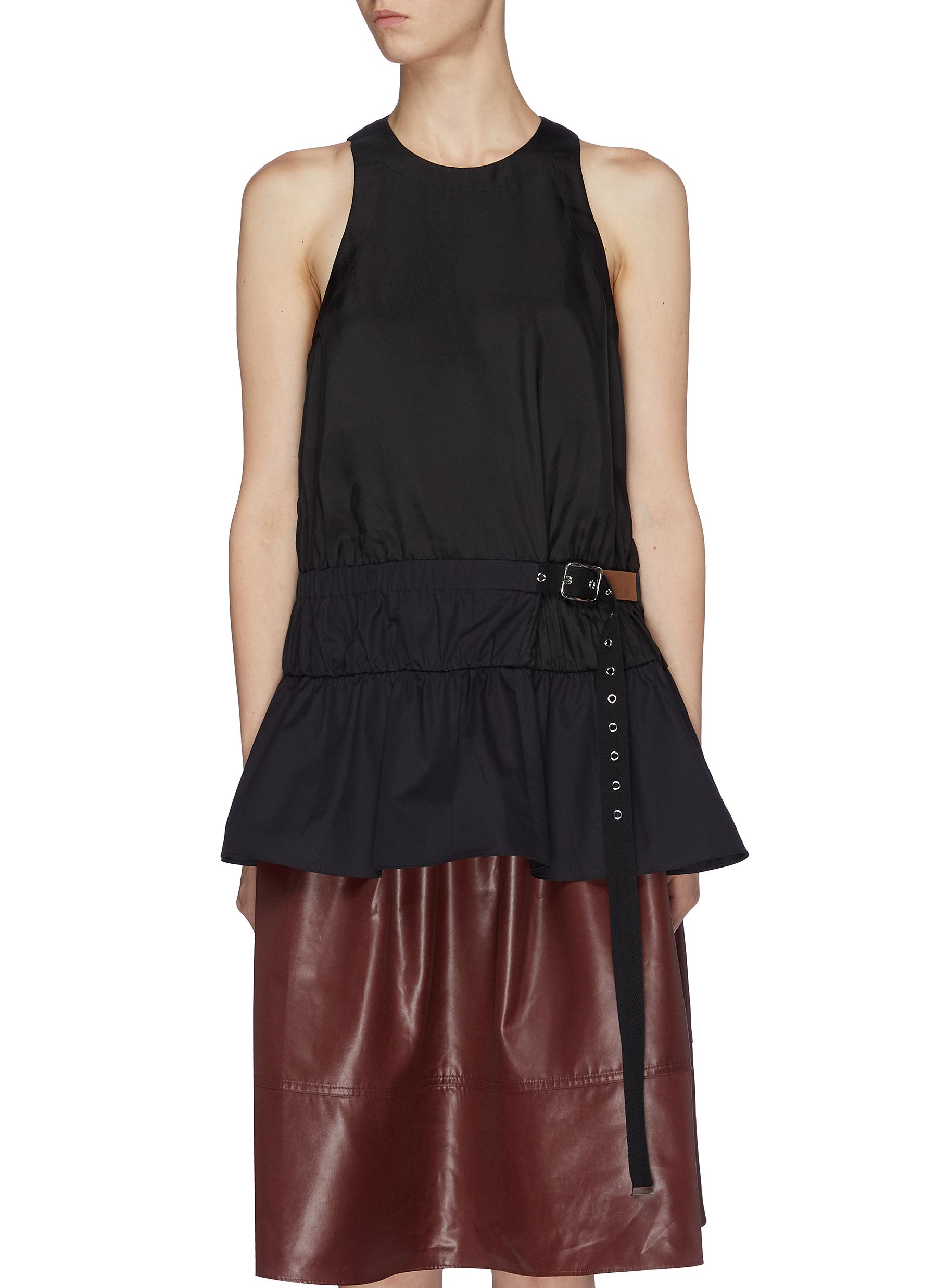 Mendini belted twill peplum top by Tibi