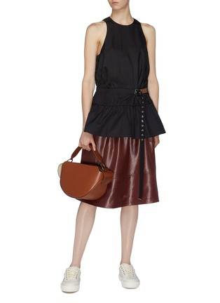 Figure View - Click To Enlarge - TIBI - 'Mendini' belted twill peplum top