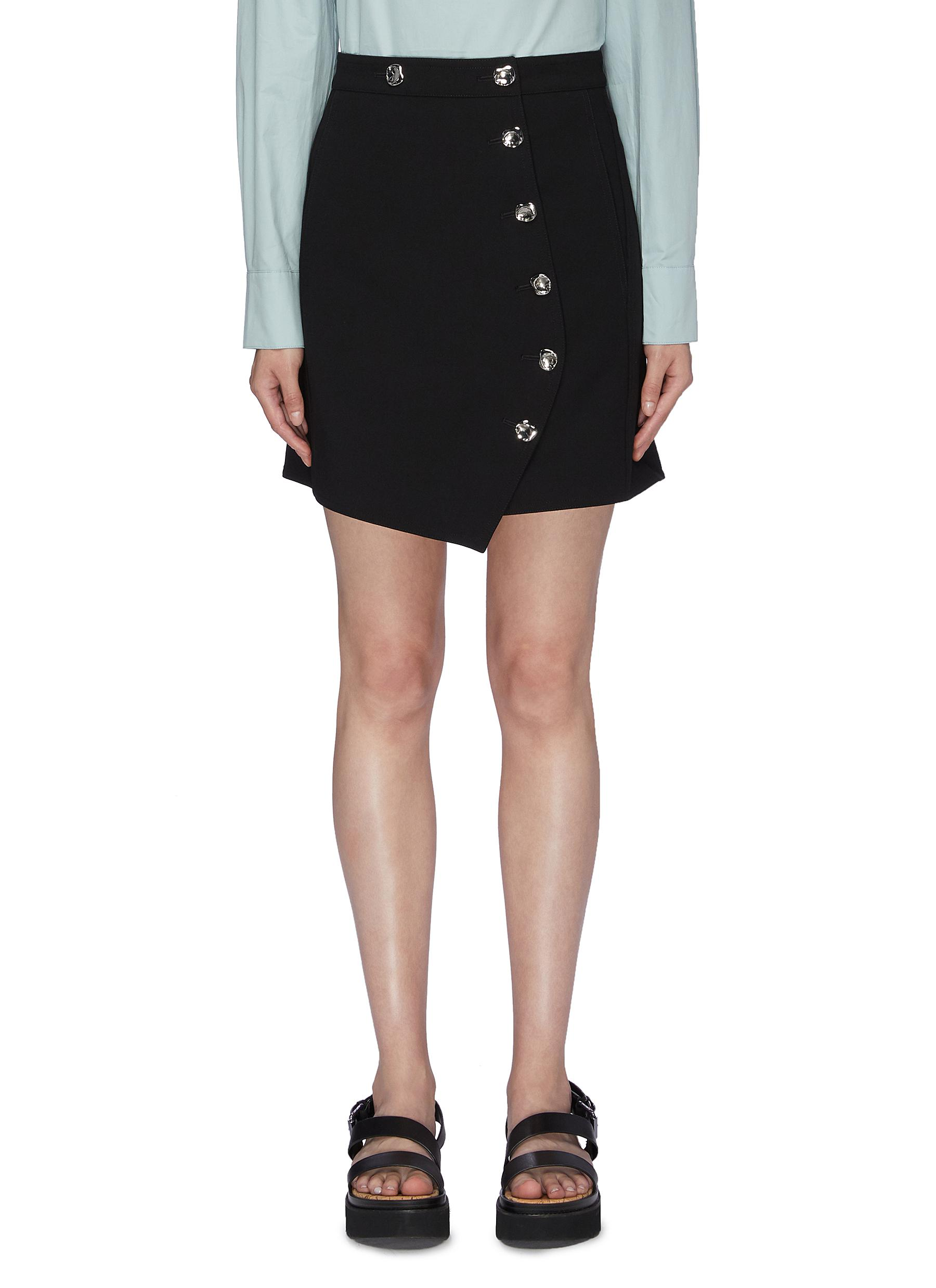 Anson abstract button mini A-line skirt by Tibi