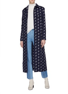 Chloé Belted horse embroidered virgin wool coat