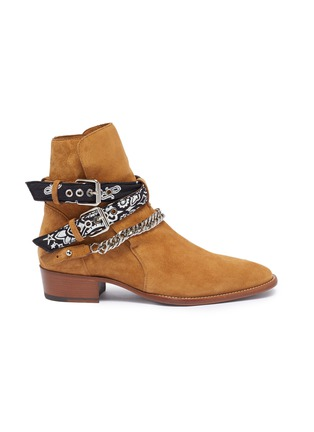 Main View - Click To Enlarge - AMIRI - 'Bandana' curb chain strap suede boots