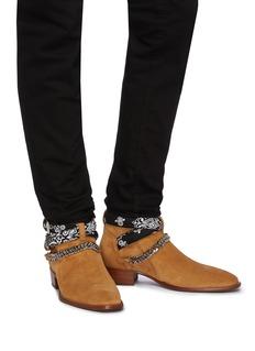 Amiri 'Bandana' curb chain strap suede boots