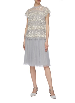 Figure View - Click To Enlarge - NEEDLE & THREAD - 'Dotted' tulle midi skirt