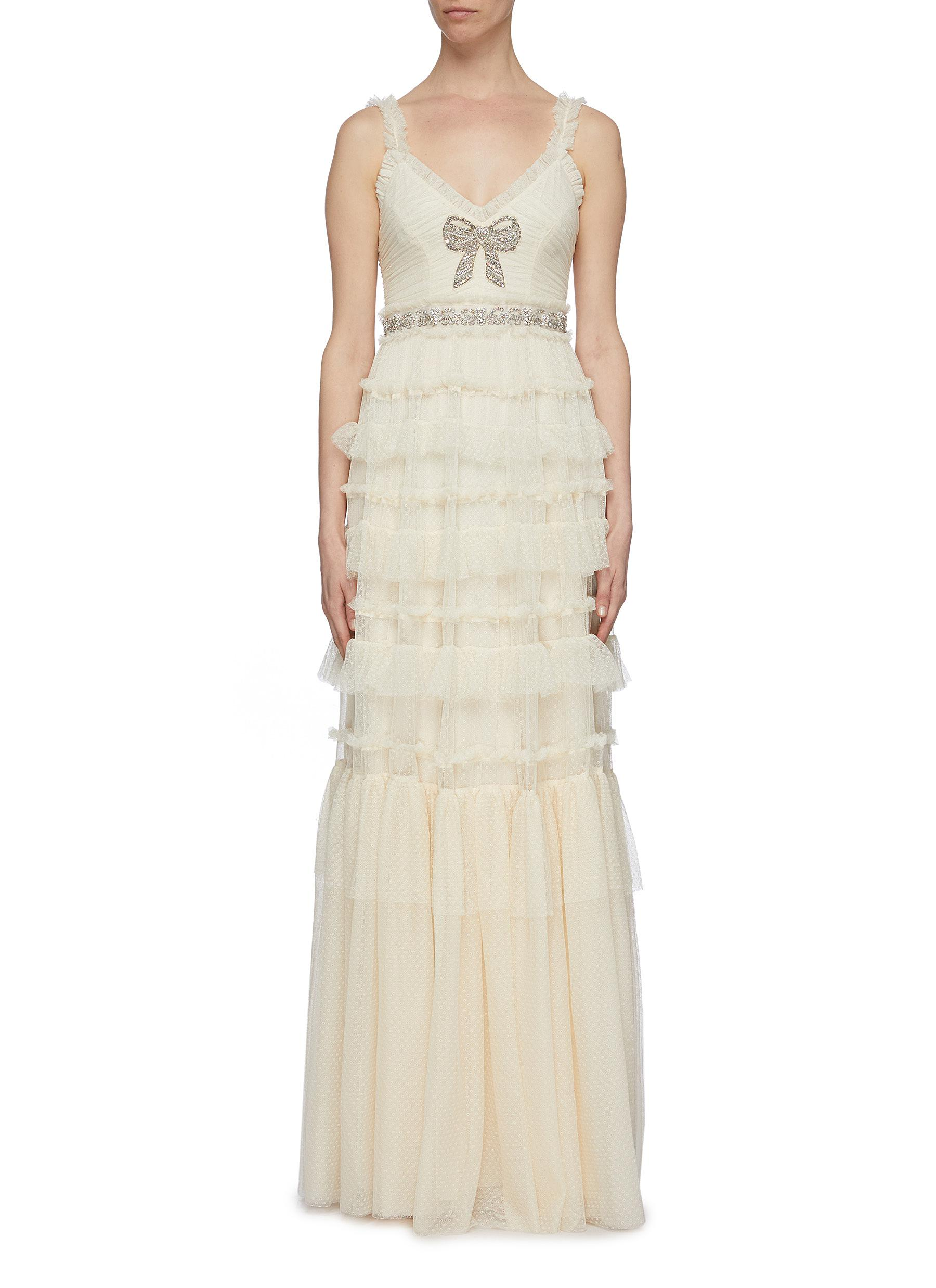 Embellished Bow ruffle trim tiered tulle camisole gown by Needle & Thread
