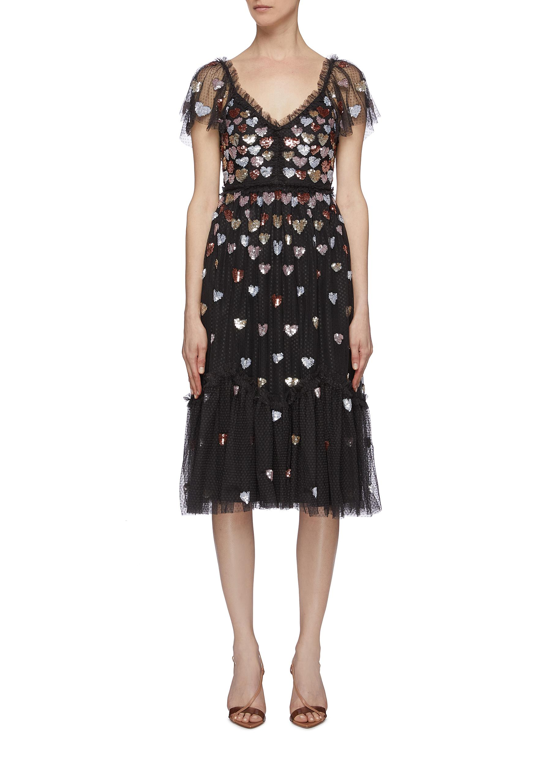 Love Heart sequin tiered tulle dress by Needle & Thread