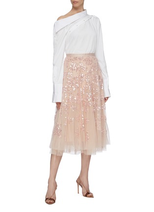 Figure View - Click To Enlarge - NEEDLE & THREAD - 'Valentina Sequin' floral tulle skirt