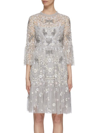 Main View - Click To Enlarge - Needle & Thread - 'Dragonfly Garden' embellished floral embroidered tiered midi dress