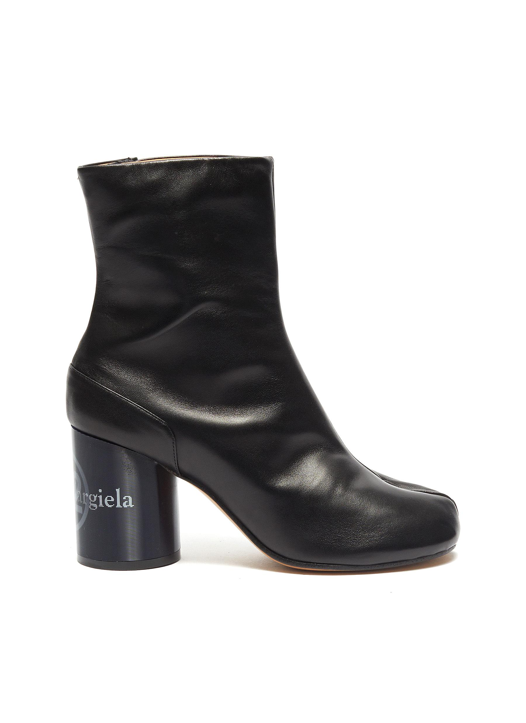 Tabi holographic effect logo print leather ankle boots by Maison Margiela