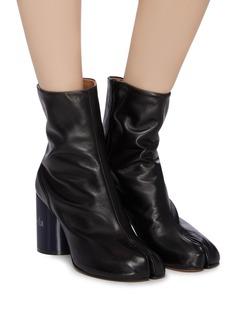 Maison Margiela 'Tabi' holographic effect logo print leather ankle boots