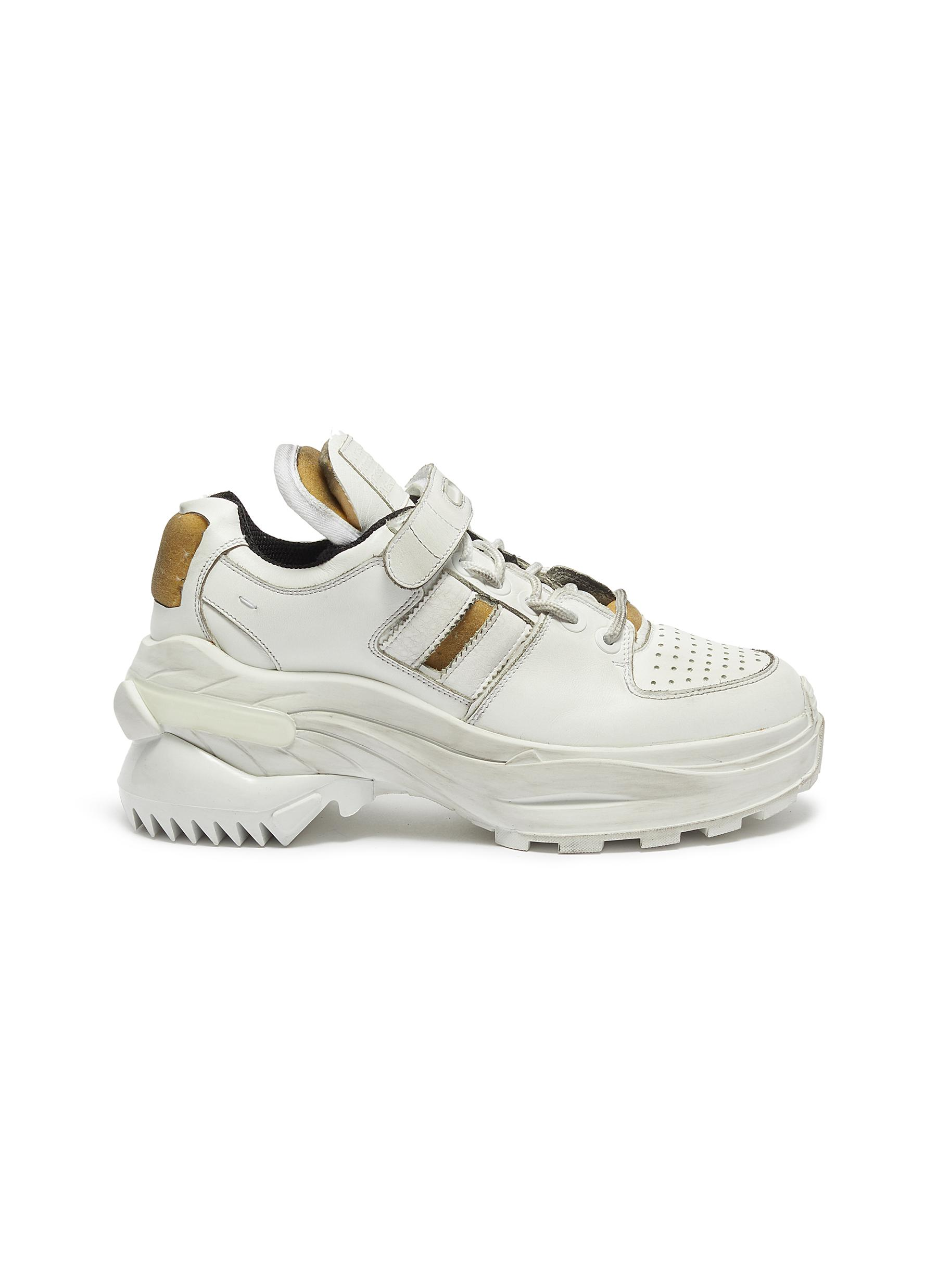 Retro Fit chunky outsole cutout leather sneakers by Maison Margiela