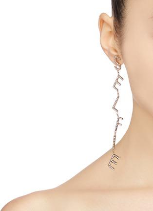 Figure View - Click To Enlarge - BIJOUX DE FAMILLE - 'Selfie' strass slogan drop earrings