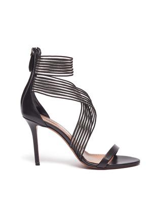 c11e4e121a1 Azzedine Alaïa. Stripe cross strap mesh sandals