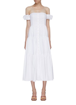 Main View - Click To Enlarge - STAUD - 'Elio' puff sleeve off-shoulder tiered maxi dress