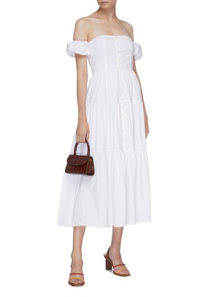 Figure View - Click To Enlarge - STAUD - 'Elio' puff sleeve off-shoulder tiered maxi dress