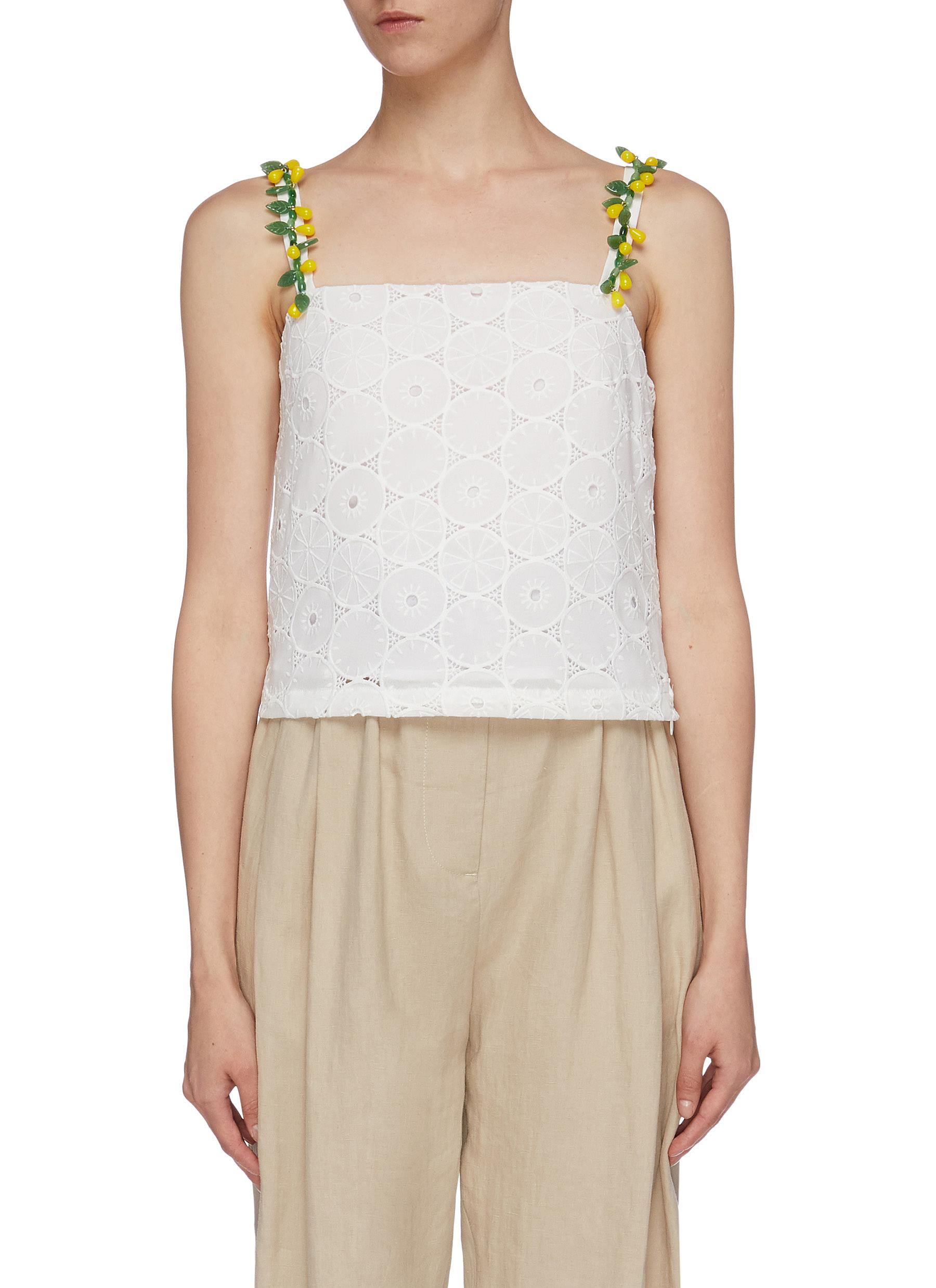 Maca glass bead strap broderie anglaise camisole top by Staud