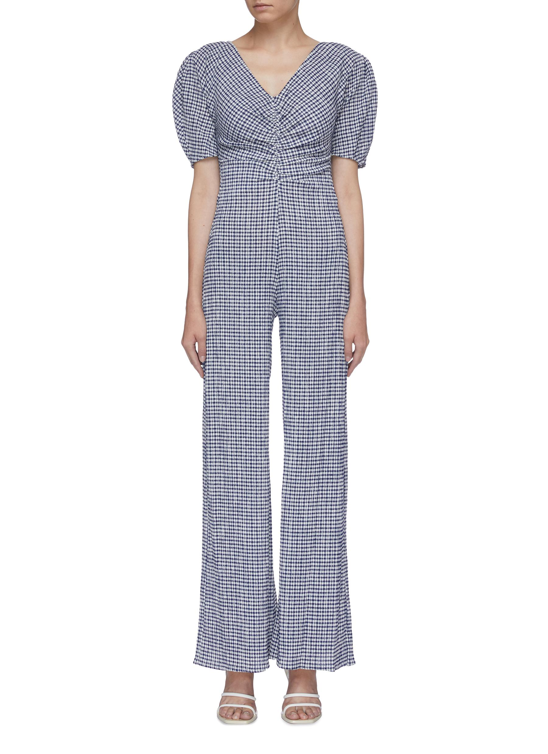 Fraise puff sleeve ruched gingham check wide leg jumpsuit by Staud