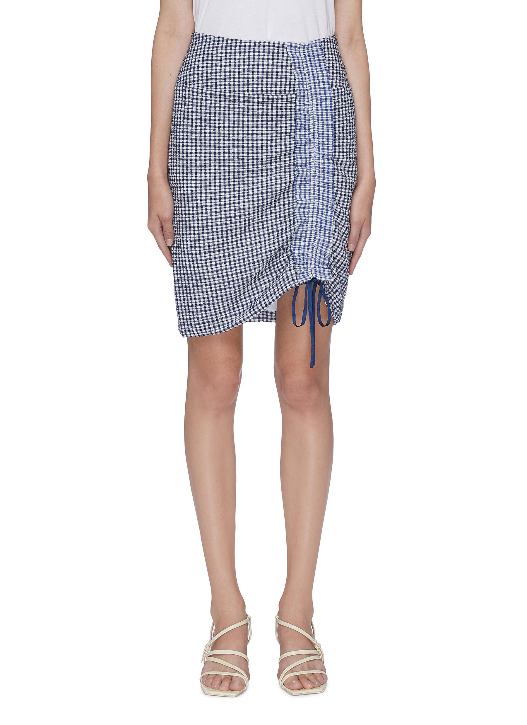 Cello drawstring ruched gingham check skirt by Staud