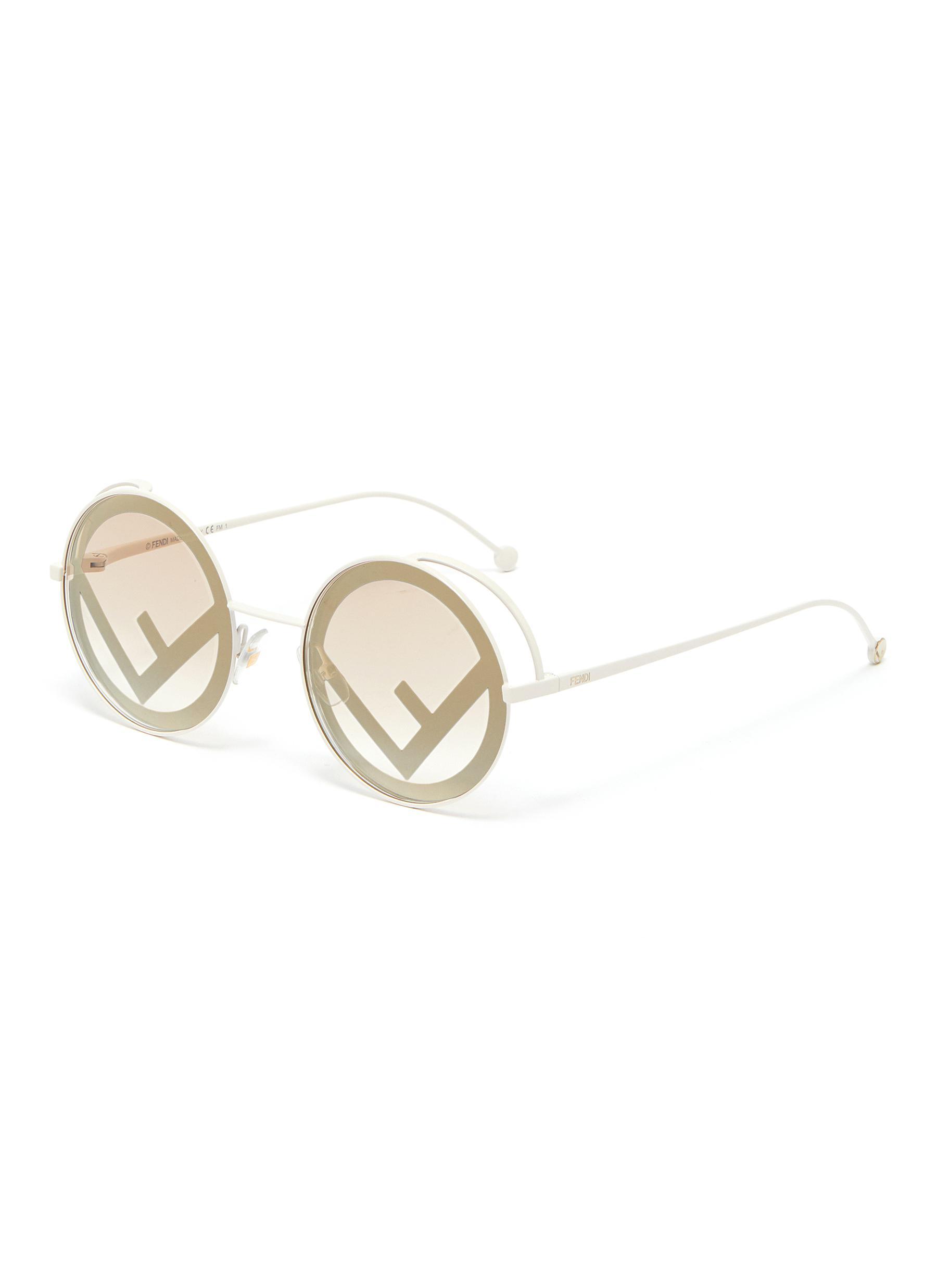 2f9a12f8b097 FENDI | 'Fendirama' logo print spoiler metal round sunglasses ...