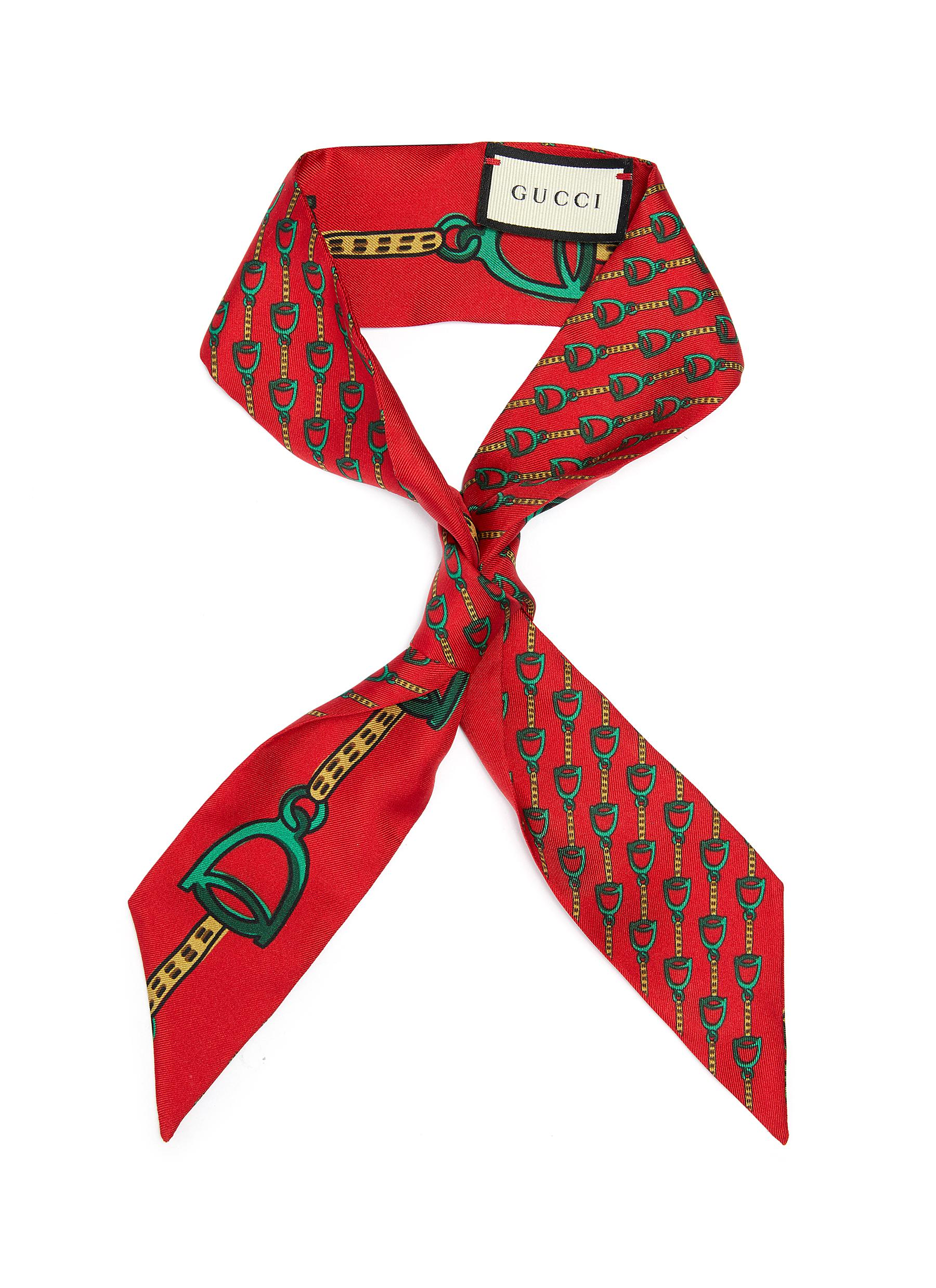 90cfb54f30f Main View - Click To Enlarge - Gucci -  Stirrups  print silk twilly scarf